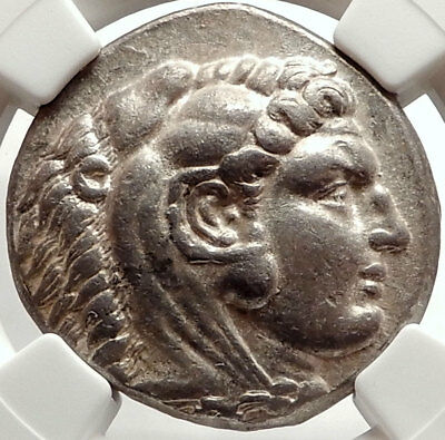 ALEXANDER III the GREAT Ancient 328BC Tetradrachm Greek Coin Zeus NGC XF i66683
