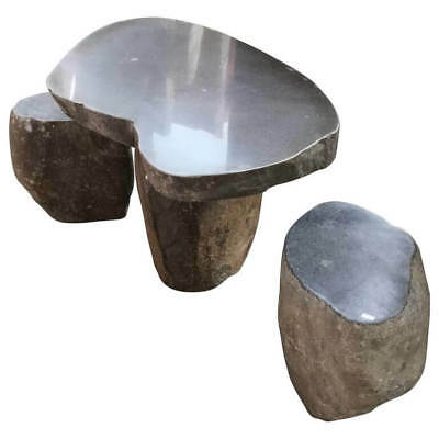 Hand-Carved Garden Stone Table & Stools Six Pieces Solid Limestone immediate use