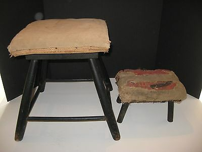 Antique Primitive Wood Foot Milking Stool Farm Country Primitive Display Pair