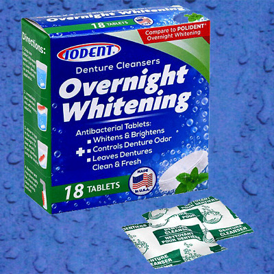 Denture Cleanser Overnight Whitening Antibacterial Tablets Made In Usa 18 Ct New