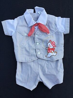 Vintage Baby Boy Cradle Togs Outfit 70s Cowboy Western Theme 3-6 Months Gray Red