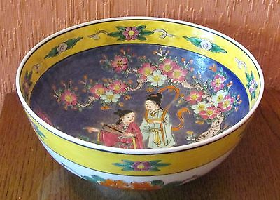 """Chinese Hand-painted 9"""" Serving Bowl with Young Ladies and Paeonies."""