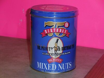 Mr Peanuts 75th Birthday Planters Mixed Nuts Full Collectible Can
