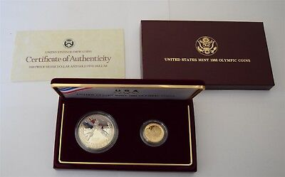 """1988 Olympic 2-Coin Proof Set w/ Gold """"Proof"""" *Free S/H After 1st Item*"""