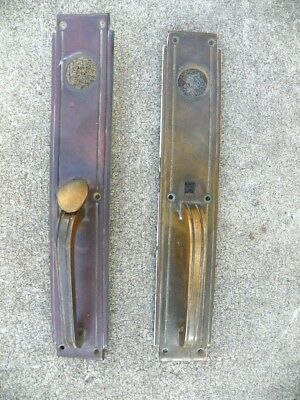 Large Set Sargent Solid Brass Door Handles, Art Deco Stepped Style, Thumb Lock