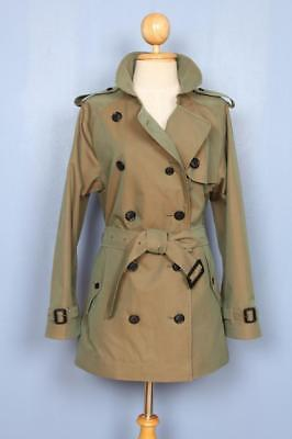 Womens BURBERRY Double Breasted Short TRENCH Coat Mac Green 10/12