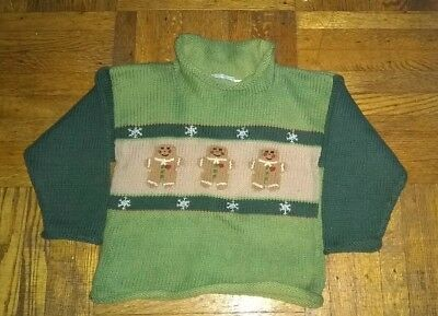 green cotton hand knit sweater 4T gingerbread and snowflake