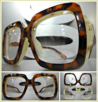 OVERSIZED VINTAGE RETRO Style Clear Lens EYE GLASSES Square Unique Flip Up Frame