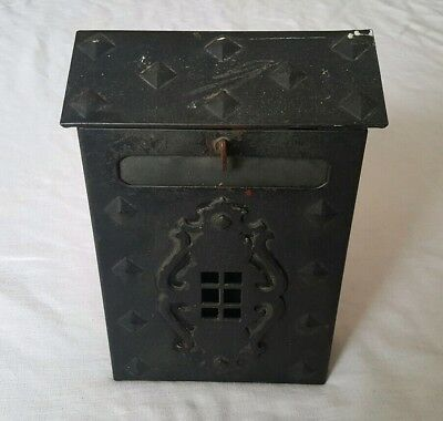 Vintage Brass Cast Iron Mailbox with Slot Home Mail Box Victorian Colonial