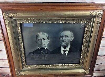 Antique Aesthetic Eastlake Victorian Oak Gesso Picture Frame Wedding pic 1865