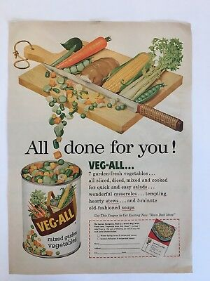 1954 Vintage Veg-All Mixed Garden Vegetables All Done For You! Magazine Print Ad