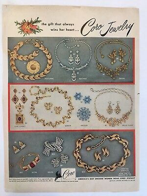 1954 Vintage Coro Jewelry The Gift That Always Wins Her Heart  Magazine Print Ad