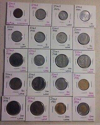 Italy  Coin Lot - (1942 to 1992) -20 Different Carded Coins - (#CWC323)