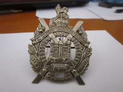 WWI British Army The Kings Own Scottish Borderers KK629 Glengarry Cap Badge 1639