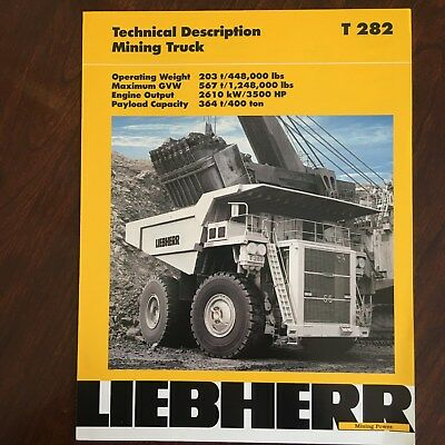 LIEBHERR Large Mining Truck T 282 - Vintage Equipment Brochure Technical Specs