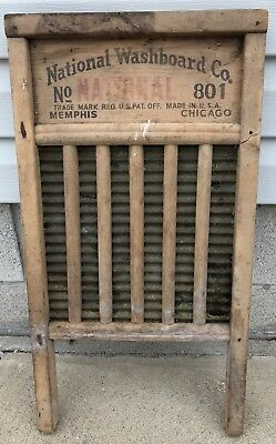 Antique Vintage National Washboard Co #801 Wood and Brass