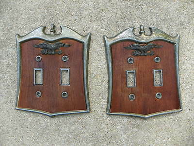 2 Vintage 1970's Eagle Double Switch Toggle Plate Covers, Antique Brass & Wood
