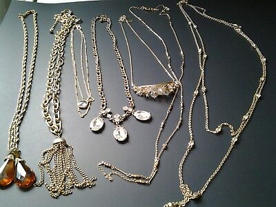 Mixed Lot Of 6 Goldtone Vintage Style Necklaces  Tassel Rhinestones