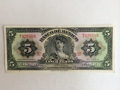 5 Peso Mexico Banknote 1961 Uncirculated. Gypsy Mex. T929589