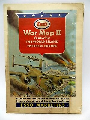 Vintage Esso WWII War Map II - The World Island & Fortress Europe
