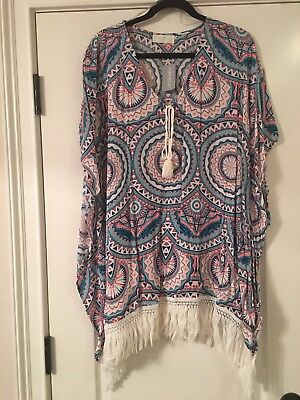 9791117d6e NEW WOMEN S PLUS Size Forever 21 Tunic Swim Cover Up Top Size 0X 1X ...