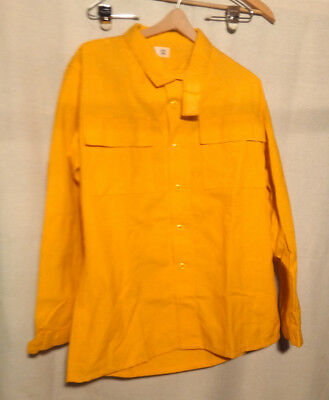 Wildland Fire Fighting Nomex Yellow Shirt Size Large Long New Velcro Neck Strap