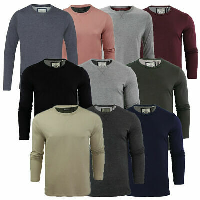Mens Brave Soul Crew Neck Long Sleeve Top T-shirt Casual Top