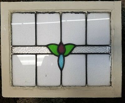 Art Deco 1930's Original Stain Glass Window Panel Lovely Colours And Textures