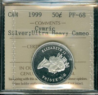 1999 Canada Silver Cymric 50 Cents Iccs Ultra Heavy Cameo Proof Solo Finest