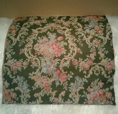 Beautiful Antique French 19thC Green Tapestry Home Upholstery Floral Fabric