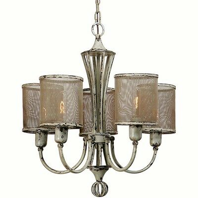 French Country 5 Light Vintage Style Pontoise Distressed Cottage Chic Chandelier
