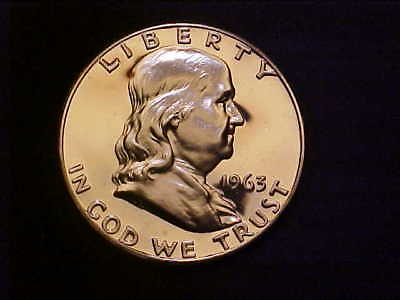 1963 Franklin Silver Half - Gem Frosted Proof - Great Collector Coin! - Vv70Uqxx