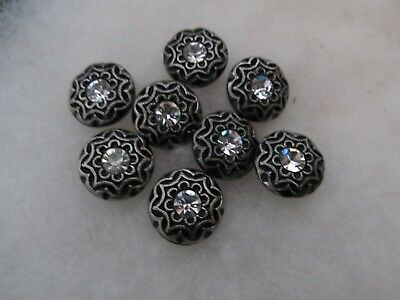 Vintage Lot 8 Black Glass Buttons With Silver Luster & Rhinestones