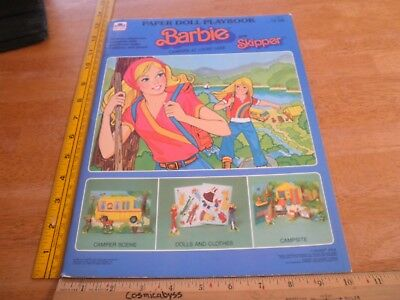 Barbie and Skipper Campsite at Lucky Lake Paper Dolls book Golden 1980 unused