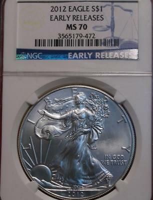 Uncirculated 2012 American Eagle Silver Dollar NGC Graded MS 70