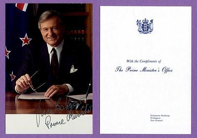 New Zealand Prime Minister James Bolger Autographed 4X6 Photo W/cover, Card, Coa