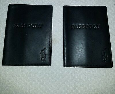 Polo Ralph Lauren Leather Passport/ID Cover Wallet Pair of 2 Black *Excellent*