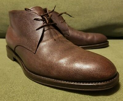 Sharp Pebbled Leather Salvatore Ferragamo Brn Chukka Boots 10Ee Italy As-Is $595