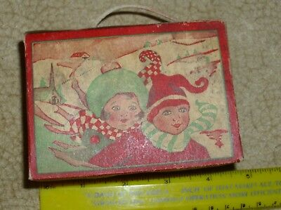 Antique 1920s Christmas Childrens Candy Box Container  Ornament Skiers