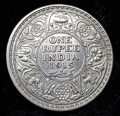 India One Rupee Silver Coin 1915 - King George V Silver Coin - Excellent Shiny