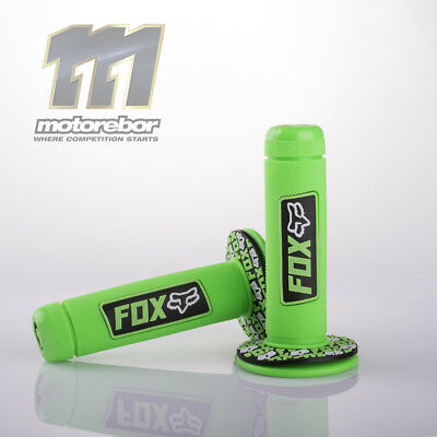 22Mm Kawasaki Green Fox Neon Full Diamond Handle Bar Grips Mx Motocross Enduro