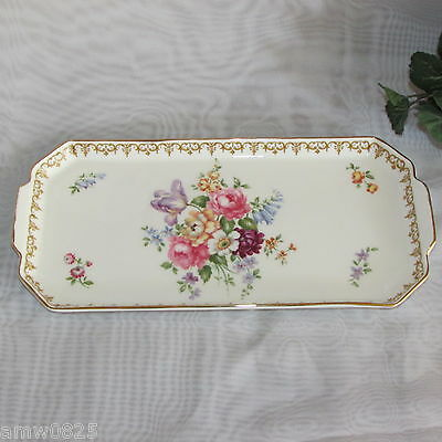 "Crown Staffordshire England's Bouquet 12"" Sandwich Cake Tray Fine Bone China"