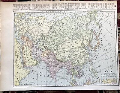 Vintage 1916 Map Asia Beautiful Graphics Persia Arabia Empire Of Japan