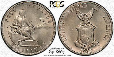 US Philippines 1938-M Five Centavos PCGS MS 64 ~CPPM~