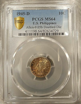 US Philippines 1945-D Ten Centavos DDO A-9.05b PCGS MS 64 ~CPPM~