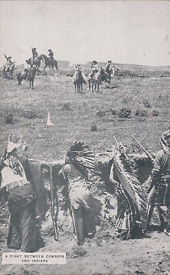 a FIGHT between COWBOYS & INDIANS-weatern MOVIE 1920s  arcade/exhibit card/ RARE