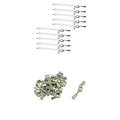 24Pcs Lobster Claw Clasp Crimp Clip Ends Set Fashion with Extender Chain