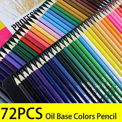 72 Color Pre-Sharpened Oil Based Colored Artist Drawing Pencils Set Kids 876-72