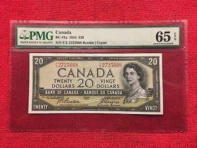 Bank of Canada BC-41a  1954 20 Dollar Modified PMG 65 EPQ Beattie/Coyne