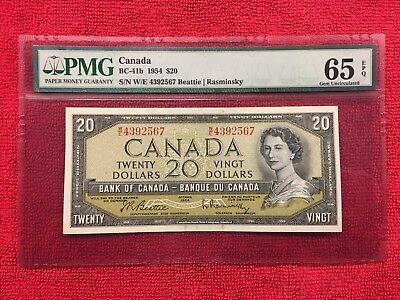 Bank of Canada BC-41b 1954 20 Dollar Modified PMG 65EPQ Beattie/Rasminsky